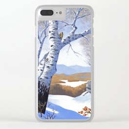 Winter birch valley Clear iPhone Case