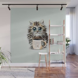 cat coffee time Wall Mural