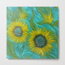 Sunflower Abstract on Turquoise I Metal Print