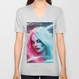 The creation of Harley Quinn - Margot Robbie Unisex V-Neck