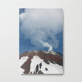 Top of volcanic cone, fumaroles activity, steam and gas emissions from volcano crater Metal Print