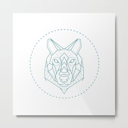 Geometric Blue Wolf Metal Print