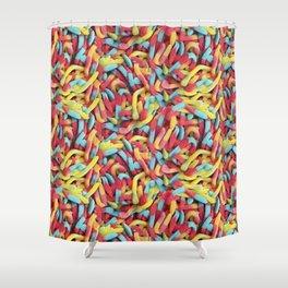 Neon Sour Gummy Worms Photo Pattern Shower Curtain