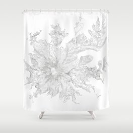 Mount Rainier, WA Contour Map In White Shower Curtain