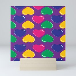 pattern with colorful hearts on purple background Mini Art Print