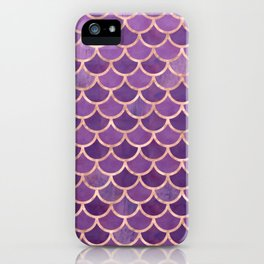 Mermaid Scales Pattern in Purple and Rose Gold iPhone Case