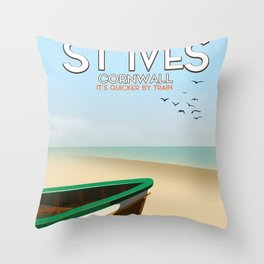 St Ives ,Cornwall ,beach travel poster, Throw Pillow