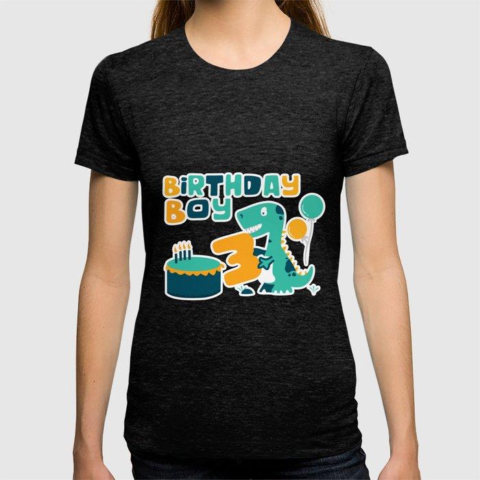 3rd Birthday Boy Dinosaur Party T Shirt By Orangepieces