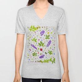 Leaves and flowers pattern (33) Unisex V-Neck
