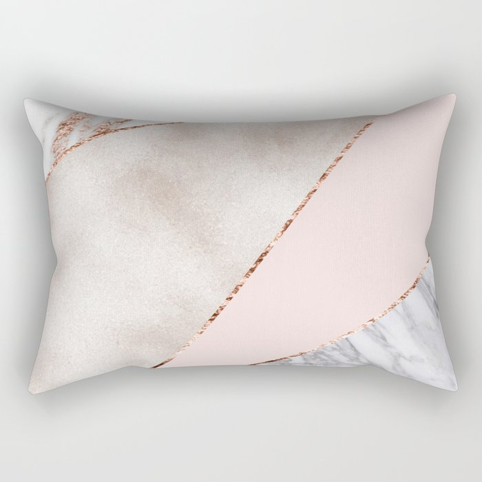 Spliced mixed rose gold marble Rectangular Pillow