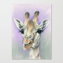 Giraffe Portrait with Beautiful Eyes Canvas Print