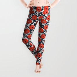Summer Poppy Floral Print Leggings