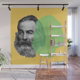 Walt Whitman portrait yellow green Wall Mural