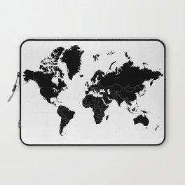 Minimalist World Map Black on White Background Laptop Sleeve