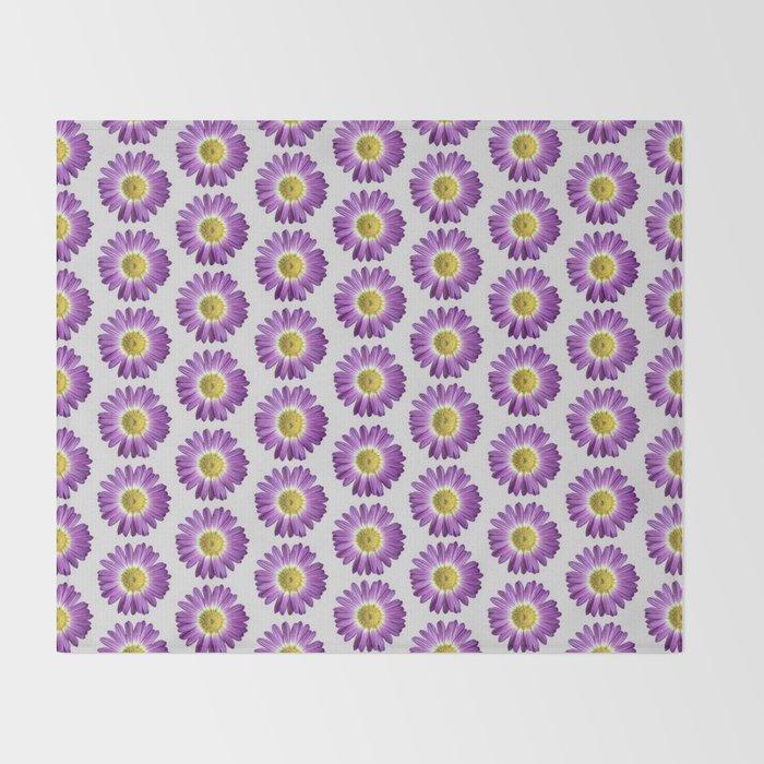 Purple Yellow Daisy Pattern,Retro Throw Blanket