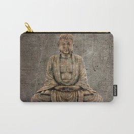 Sitting Buddha On Distressed Metal Background Carry-All Pouch