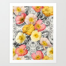 Collage of Poppies and Pattern Art Print
