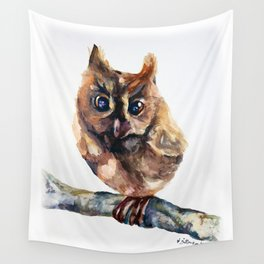 WATERCOLOR BABY OWL WOODLAND ANIMALS NURSERY COLLECTION Wall Tapestry