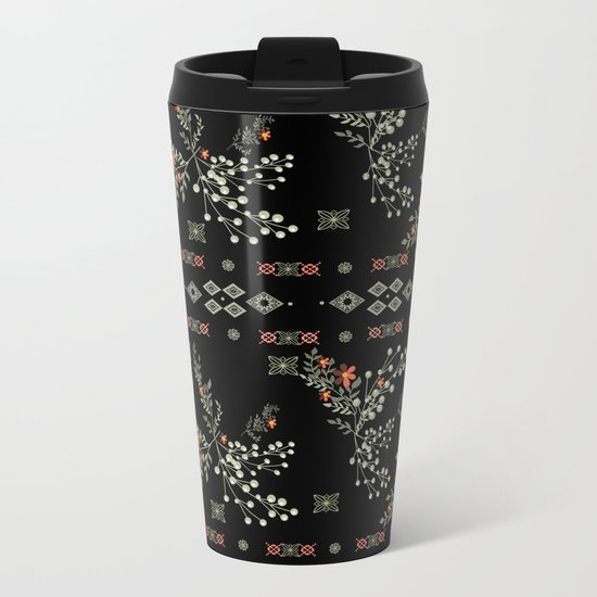 Seamless abstract floral pattern on black background Metal Travel Mug