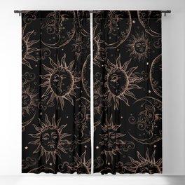 Black Rose Gold Celestial Vintage Sun Moon Blackout Curtain
