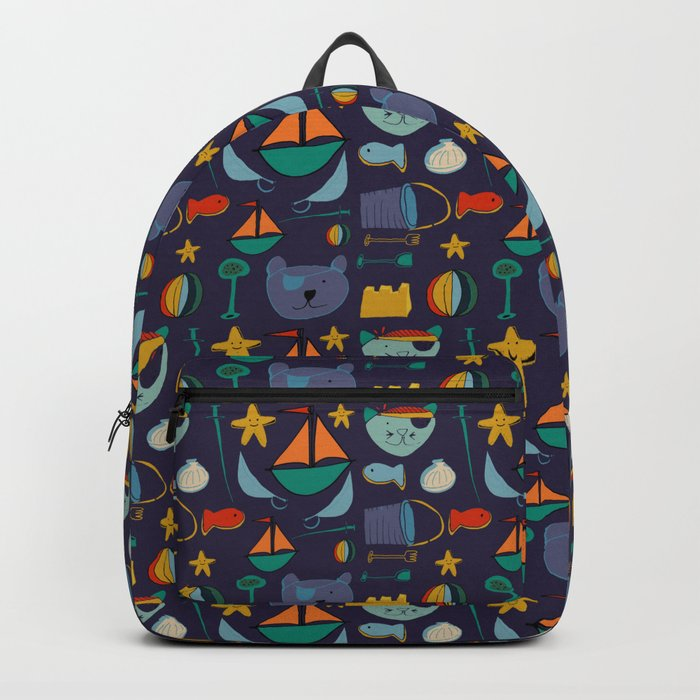 cat and bear pirate purple Backpack