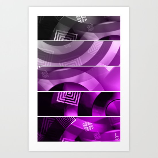 Color Technic (Five Panels Series) Art Print