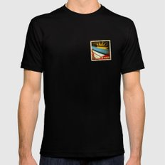 Grunge sticker of Antigua and Barbuda flag MEDIUM Black Mens Fitted Tee