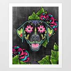 Labrador Retriever in Black - Day of the Dead Lab Sugar Skull Dog Art Print