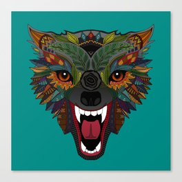 wolf fight flight teal Canvas Print
