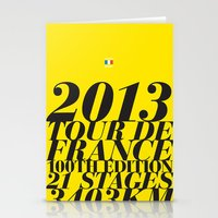 tour de france Stationery Cards featuring 2013 Tour de France: Maillot Jaune by Dushan Milic
