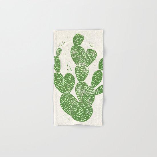 Linocut Cactus #1 Hand & Bath Towel