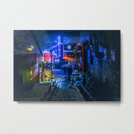 From My Umbrella - Alley at Snowy Night Metal Print