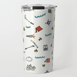 Adventure Pattern | Camping Pattern | Hiking Pattern | Hand Drawn Outdoors Pattern Travel Mug