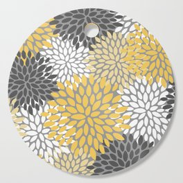 Modern Elegant Chic Floral Pattern, Soft Yellow, Gray, White Cutting Board