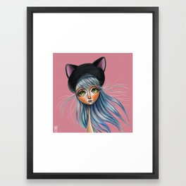 Kit Cat :: Girl in Her Kitty Hat Illustration Framed Art Print