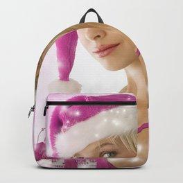 Holiday Christmas Woman Blonde Santa Hat Pink Backpack
