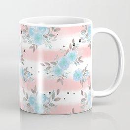 Pink teal watercolor modern stripes floral dots Coffee Mug