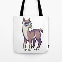 llama Tote Bags featuring Llama by Suzanne Annaars