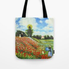 Claude Monet - Poppy Field at Argenteuil Tote Bag