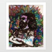 grateful dead Art Prints featuring Jerry Garcia Watercolor Portrait Grateful Dead by Acorn