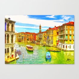 Awesome Venice Italy, Canal View painting illustration Canvas Print