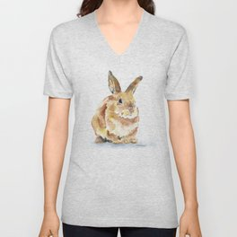 Bunny Rabbit Watercolor Painting - Woodland Animal Art Unisex V-Neck