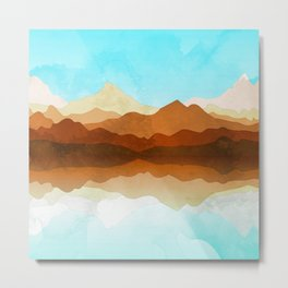 Western Sky Reflections In Watercolor Metal Print