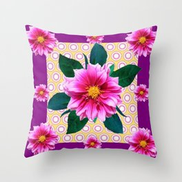 FUCHSIA DAHLIA FLOWERS ABSTRACT Throw Pillow