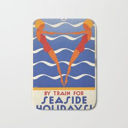 Seaside Holidays! - Vintage Poster Bath Mat