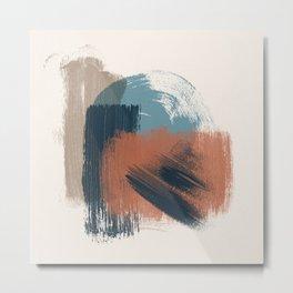 Burnt Orange Dark Blue Cyan Tan, Watercolor Brush Strokes, Abstract Art 101-2 Boho decorative art Metal Print