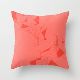 Coral with Connected Lines Throw Pillow