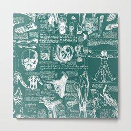 Da Vinci's Anatomy Sketchbook // Genoa Green Metal Print