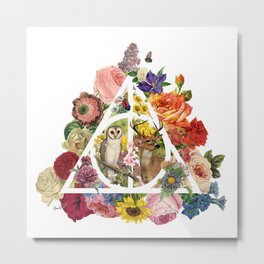 Floral Deathly Hallows Owl and Stag - White Metal Print