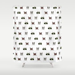 Cats Wearing Sunglasses Pattern Shower Curtain